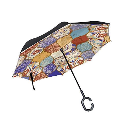 rodde Regenschirm Reverse Inverted Sun Rain Vintage Ethnische Mandala Paisley Plaid Striped Bohemian Reversible für den Außenbereich mit C-förmigen Griff