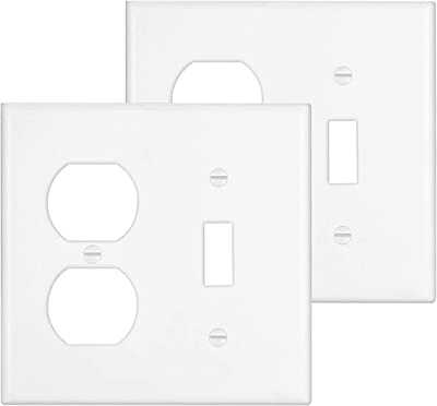 Leviton 88007 2 Gang 1 Toggle 1 Single 1 406 Inch Diameter Device Combination Wallplate Thermoset Device Mount White Switch And Outlet Plates Amazon Com