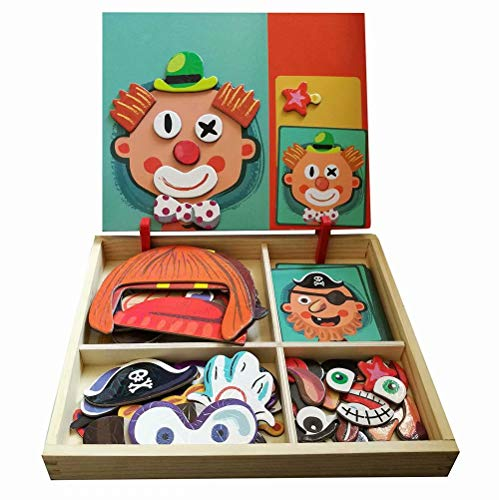 QIAONIUNIU Wooden Magnetic Jigsaw Puzzles Toy, Toddler Craft Toys Educational Travel Puzzle Games Double Sided Drawing Easel for Boys and Girls