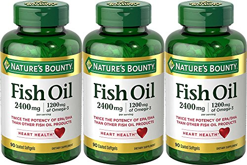 Natures Bounty Fish Oil 2400 mg Double Strength Odorless 90 Softgels (Pack of 3)