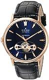 Edox Les Bemonts 85021 37R BUIR - Reloj de Pulsera para Hombre (42 mm, Correa de Piel Azul, Caja de Acero Inoxidable)