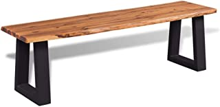 vidaXL Solid Acacia Wood Bench with Live Edge Metal Legs Seating Stable Hardwearing Hallway Entryway Living Room Vintage I...