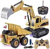 JOYIN 2 PCS Remote Control Construction Vehicle Toy Set, Friction-Powered RC...