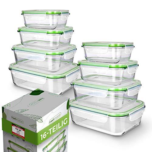 Fresh Master Frischhaltedose Glas Set - Testurteil: SEHR GUT - 100{16d6def2fec44d127a3bdb5e47a7dd0467b03c2245cca9a02a90ce2d97ed3fd5} auslaufsichere + luftdichte Vorratsdosen mit Deckel I Vorratsdosen Glas Meal Prep Boxen Glas Aufbewahrungsbox (16 teilig)