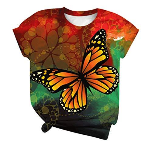 Xmiral T-Shirt Top Camicetta Donna T-Shirt O-Collo 3D Manica Corta Taglie Forti (S,16Multicolore)