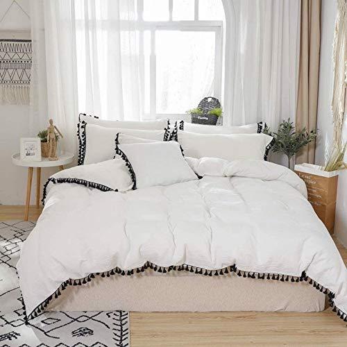 Copripiumino con nappe in cotone, stile bohémien, per dormitorio e dormitorio, per donna gitana, tinta unita, con federe