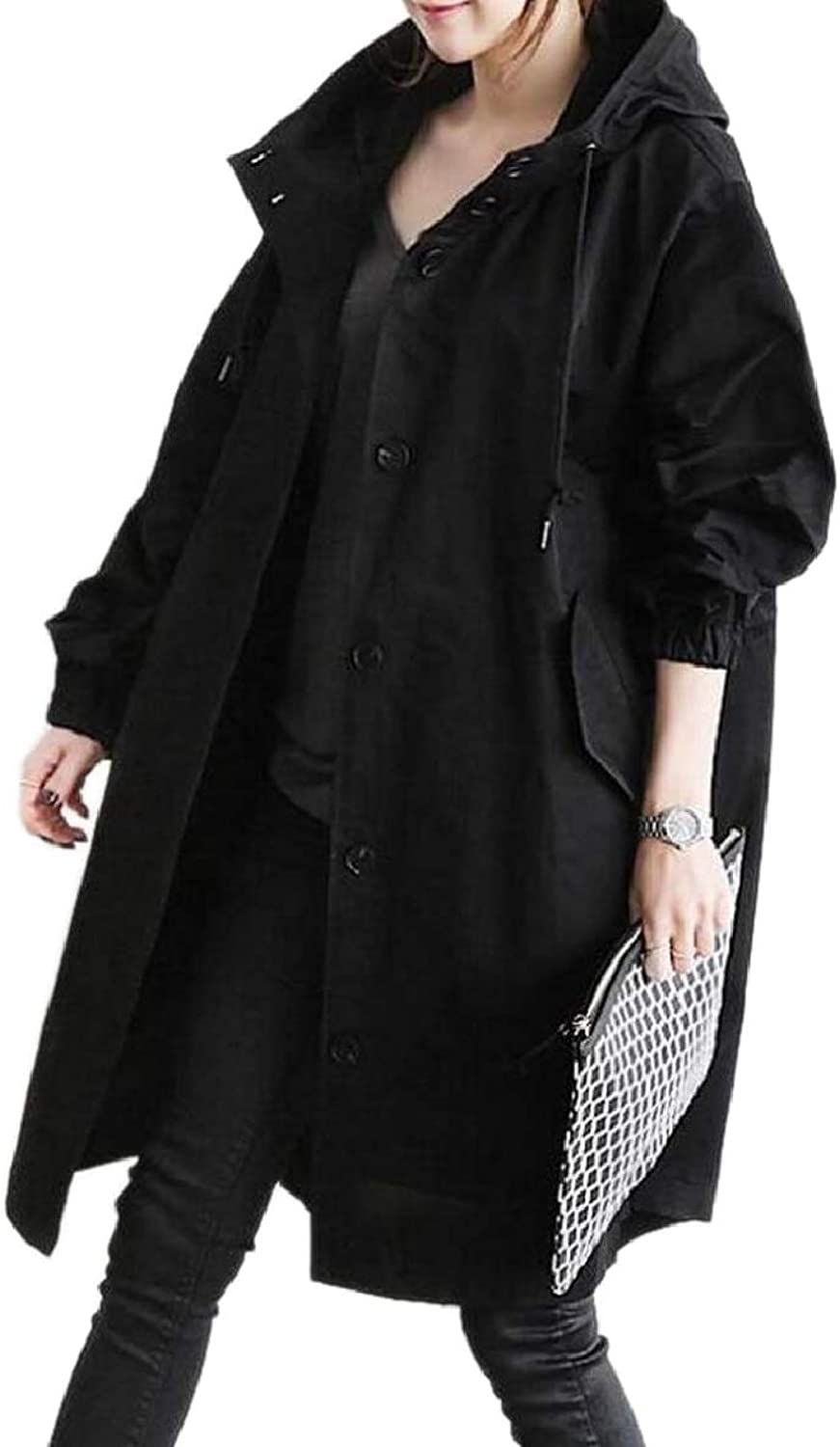 Xswsy XGCA Women's Button Front Oversize Strings Hoodie Casual Trench