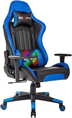 Bowthy Massage Gaming Chair Large Size Computer Ergonomic Game Chair Heavy Duty Big and Tall Gamer Chair Racing Style Headrest and Lumbar Support (Blue)