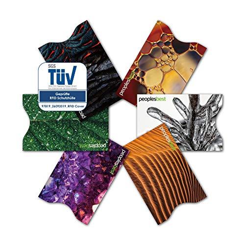 TÜV geprüfte RFID & NFC Kreditkarten-Schutzhülle (6 Stück) super dünn & robust für 100% Datenschutz - Motive (Natur)