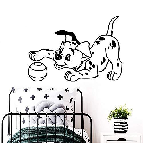 Ajcwhml Cachorro Jugando con una pequeña Bola Pegatina de Pared niños bebé Dormitorio decoración Vinilo Arte Pared calcomanías decoración de Moda 58X64CM