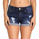 Hocaies Mujer Pantalón Corto Vaquero con Dibujo y Bordado Pantalones Vaqueros con Bolsillos (ES 44 (30W), 03 Azul Oscuro)