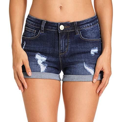 Hocaies Damen Jeansshorts Basic in Aged-Waschung Jeans Bermuda-Shorts Kurze Hosen aus Denim für den Damen Sommer High Waist Denim Kurze Hose mit Quaste Ripped Loch Hotpants Shorts (40, 03 Dunkel Blau)