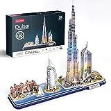 CubicFun Puzzle 3D LED Dubai Cityline Maquetas para Construir Adultos Kits de Construcción de Iluminación, Atlantis The Palm Dubai, Hotel Burj Al Arab Jumeirah, Burj Khalifa, Torres de los Emiratos