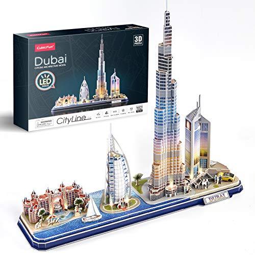 CubicFun 3D Puzzles for Adults Kids LED Dubai Cityline Collection, Lighting Architecture Building Birthday Gifts, Atlantis The Palm Dubai, Burj Al Arab Jumeirah Hotel, Burj Khalifa, Emirates Towers