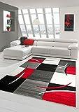Designer Teppich Moderner Teppich Wohnzimmer Teppich Kurzflor Teppich mit Konturenschnitt Karo Muster Rot Grau Weiß Schwarz Größe 80x150 cm