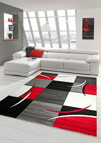 Salon Designer Tapis Contemporain Tapis, Moquette à Motif Diamant Contour de Coupe Rouge Gris Blanc Noir (120x170 cm)