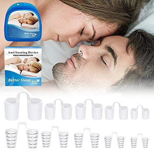 Dispositivos Anti Rronquidos 5 Piezas Semi Duras y 5 Silicona Blanda - Antironquidos Nasal Para Dormir Y Dejar De Roncar- Antirronquidos 100% libre de BPA - Alivia Apnea Del Sueño