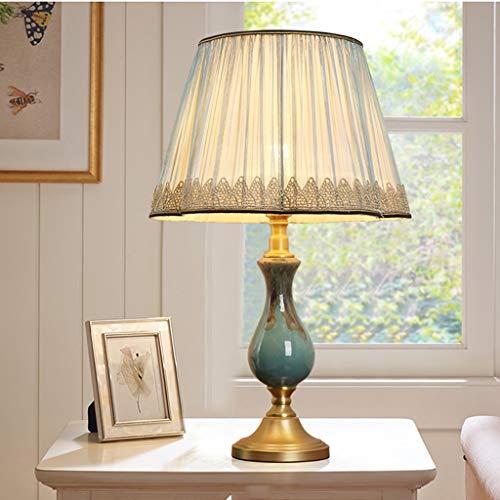 Lámpara de mesilla de noche De estilo europeo, lámpara de mesa de noche dormitorio lámpara de mesa creativa americana Sala de estar regulable completa de cobre de la lámpara de cerámica Lámpara de Mes