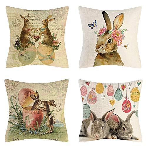 AMZQJD - Federa per cuscino pasquale con motivo di coniglio, in cotone e lino, 45 x 45 cm, 4 pezzi