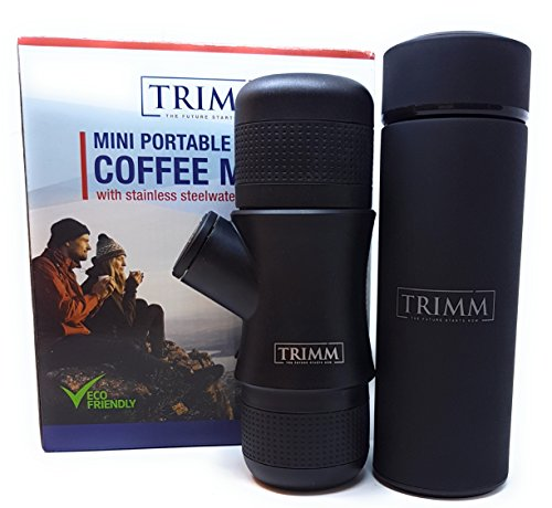 Trimm Portable Hand Held Espresso Machine and Thermos Vacuum Insulated Double Wall | Portable...