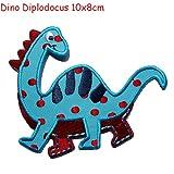 2 Aufbügler Set Dino Stegasaurus 12x7 und Dino Diplodoc TrickyBoo Schweiz macht Aufnäher Applikation Applique Bügelbilder Flicken für Kinder Mode Kleidung Mädchen oder Jungen...
