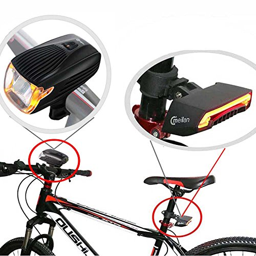 MEILAN Bike Light Kit Front and Black Smart Lights for Bike Headlight and Taillight Set,USB Rechargeable,Easy to Instal ((X1+X5) Set)