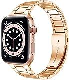 Miimall Correa de Reloj Compatible con Apple Watch Serie 6/SE/5/4/3/2/1 40mm 38mm, Metal de Acero Inoxidable Correa de Repuesto Ajustable Pulsera de Repuesto para Apple Watch 40mm 38mm - Oro Rosa