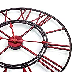 BEW Large Wall Clock, 24 Inch Red Skeleton Vintage Industrial Decorative Wall Clock with Roman Numerals, Silent Non Ticking Open-Faced Iron Metal Wall Clock for Home, Indoor, Living Room, Dining Room