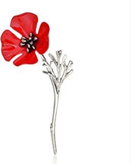 HENGSONG Red Flower Brooch Vintage Collar Pins Jewelry Accessories Enamel Brooches Gift for Men Women Girl, Silver Color