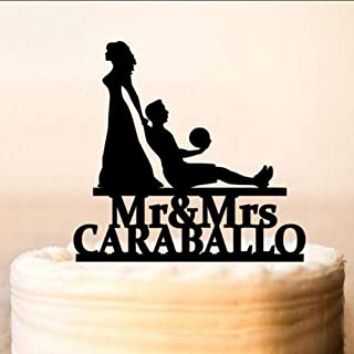Personalized Soccer Wedding Cake Topper Bride And Groom Silhouette Cake Topper Mr And Mrs Football Players