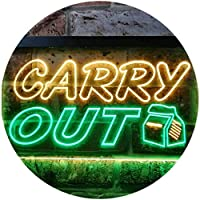 Carry Out Café Illuminated Dual Color LED看板 ネオンプレート サイン 標識 緑色 + 黄色 600 x 400mm st6s64-i0503-gy