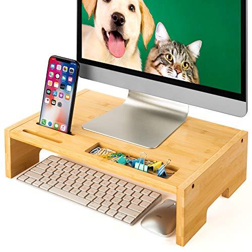 Amada Soporte de Monitor de Bambú con Soporte para Móvil Inteligente y Muescas para Bolígrafo, para Ordenador en Oficina y en Casa, Computadora Portátil, TV, Tableta, Impresora, Proyector
