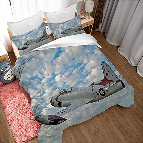 ERBWB 3-Piece Kids Bedding Duvet Cover Set Blue Sky Plane (2 Quilt Cover with Zipper Closure and 1 Pillowcase), Duvet Cover Soft Polyester 55.1.X78.7inch