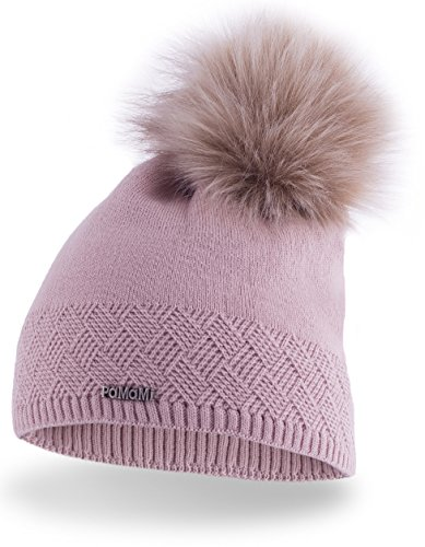 Slouch PaMaMi® 17506 Damesmuts voor dames, warme gebreide muts met pompon | gebreide pompon muts | bont pompon muts voor de winter | zachte wintermuts | kleurkeuze