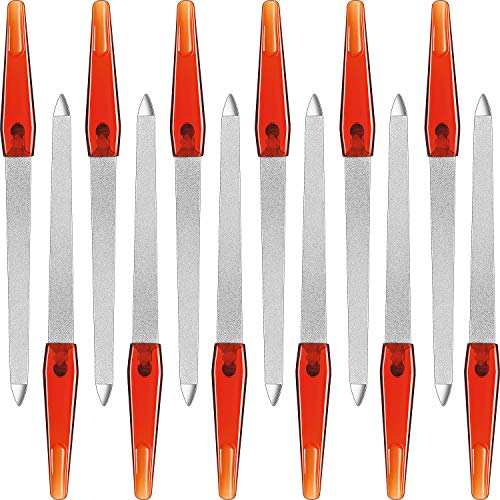 12 Stück Saphir Nagelfeile 6,7 Zoll Edelstahl Nagelfeile Doppelseiten Metall Feile mit Rutschfestem Griff Fingernägel Zehennägel Maniküre Datei für Frauen und Männer