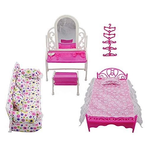 Yiyu Prinzessin Möbel Zubehör Kommode Set + Sofa Set + Bett Set + Kleiderbügel Für Schlafzimmer Barbie Puppe 8 Artikel/Los x (Color : Pink)
