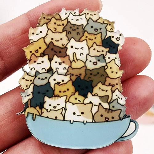WWWL Broches 2 pcs Harajuku Lindo Animal Gato acrílico Broche Ropa Insignia niños Mochila Lcon Brooches Pins Mujeres Accesorios Gold-Color
