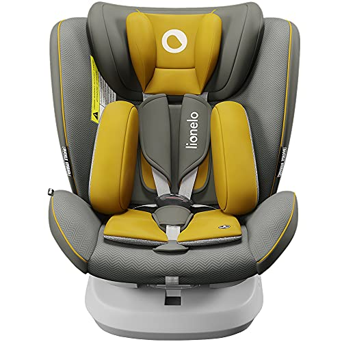 Lionelo Bastiaan ONE Kindersitz ab Geburt 0-36 kg Isofix Top Tether 360 Grad drehbar Rückwärts Vorwärts Seitenschutz 5-Punkt-Sicherheitsgurte Dri-Seat (Gelb)