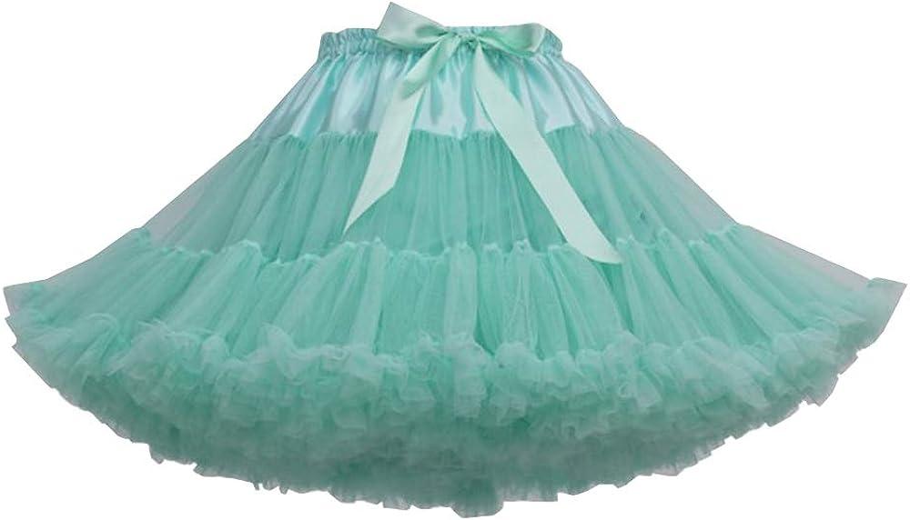 Women 3-Layered Puffy Tutu Petticoat Skirt Elastic Waist Chiffon Pettiskirts Tulle Lolita Princess Skirt