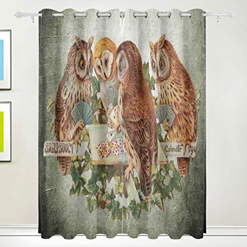 Ahomy Bedding - Cortinas opacas con 2 paneles, diseño de búhos y tarjetas de juego térmicas para sala de estar, 84 x 55 pulgadas