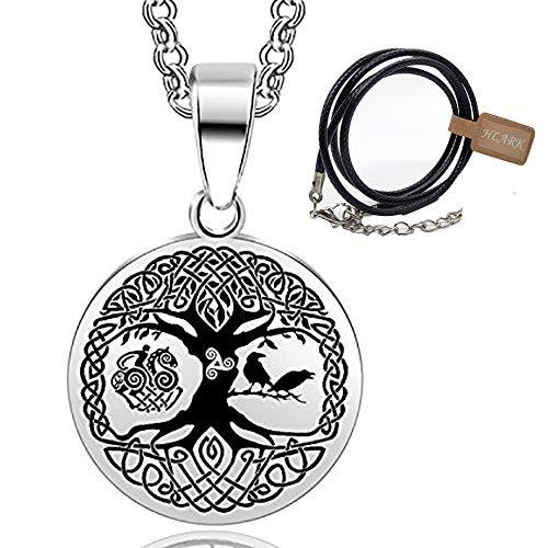 HLARK nordischer Baum des Lebens Anhänger 316L Edelstahl Pirat heidnischer Keltischer Knoten Amulett Halskette Krähe (#2)
