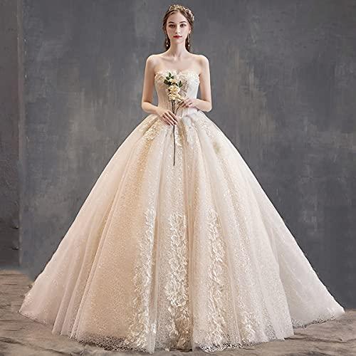 roroz Hochzeitskleider Damen Prinzessin Champagner, Brautkleider Lange Schleppe, Sexy Tube Top Brautkleid Abendkleider, RüCkenfrei Spitze TüLl...