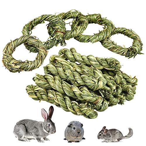 Roundler 20 Stück Kaninchen Kauspielzeug, Natürlicher Timothy Heu Stick, Kaninchen Zahnschleif Grasring Spielzeug, Kleintiere Kauspielzeug Snacks für Kaninchen Chinchilla Hamster Meerschweinchen