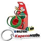 Biltek Professional Portable Torch Kit Oxygen Acetylene Oxy Welding Cutting Victor-Style Tank + KapscoMoto Keychain