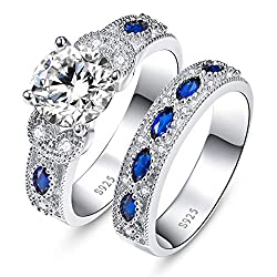 HIGH QUALITY - This stunning ring sparkles to perfection with vibrant cubic zirconia diamond stones & blue sapphire. Silver weight: 8.42 g, gemstone number: 1pc 8mm, 4pcs 1.6mm, 7pcs 2*4mm, 8pcs 1.2mm. SAFE & COMFORTABLE - Carefully constructed with ...