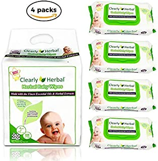 Clearly Herbal Amazon's Choice Gentle Baby Wipes Bundle Pack 288 Plant Based Wipes (4 Packs x 72 Count)