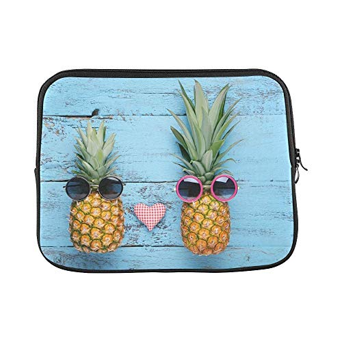 ASKSWF Computertasche Design Custom Ripe Pineapples Sunglasses On Blue Wooden Sleeve Soft Laptop Case Bag Pouch Skin for Air 15inch(2 Sides)