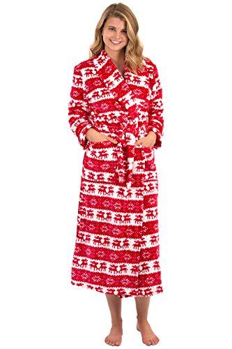 VEAMI Women's Aspen Ultra-Soft Plush Warm Fleece Bathrobe-North Pole-X-Large, Long
