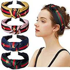 Elegant & Cute Design - This style has been popular from Italy since 1950s. The inspiration of color marching came from the horse's belly belt. Classical style with stripe make you look slim, sweet and cute. Comes with 4 pack knotted headbands for wo...