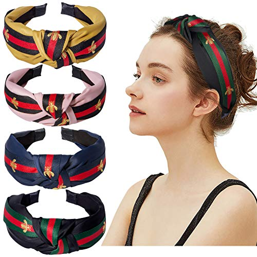 Cute Knot Headbands for Women  4 Pack Hair Hoops Wide Stripe Headband with Bee Animal Cross Knot Hair Band with Cloth Wrapped